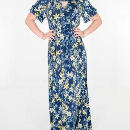 Maxi φλοράλ μπλε φόρεμα με εντυπωσιακά μανίκια