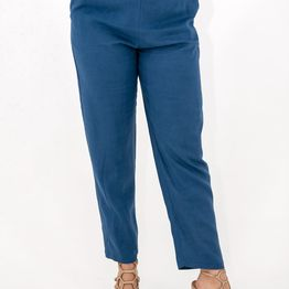 Μπλε λινό παντελόνι με λάστιχο