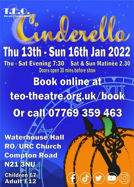 poster or flyer advertising event T.E.O. Theatre Productions presents Cinderella