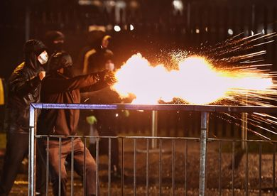 seventh, belfast, rioters, blasted, cannons, fireworks, thrown