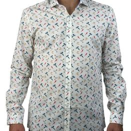 Firenze λευκό πουκάμισο με σχέδια 016 5902C