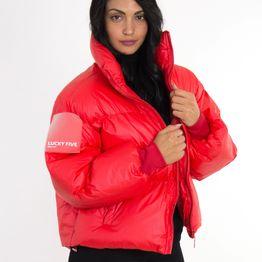 Γυναικείο κόκκινο Oversize Bomber Jacket D5083