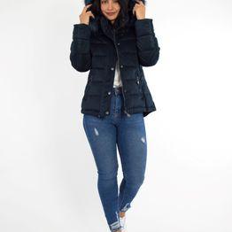 Γυναικείο μπλέ κοντό Velvet μπουφάν H992D