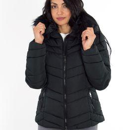 Γυναικείο μαύρο μπουφάν με κουκούλα L908