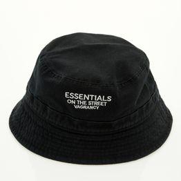ESSENTIALS BLACK BUCKET HAT