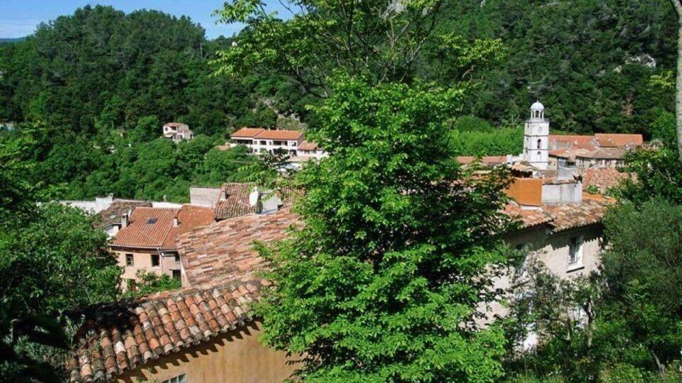 Le petit village de Méounes-lès-Montrieux entouré de verdure.