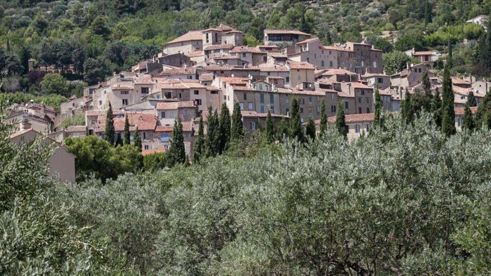 Le village de Seillans entouré de collines et champs d'oliviers.