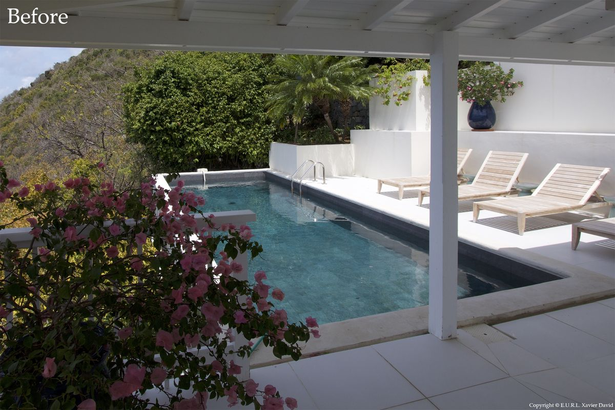 Pool Terrace of Villa Esprit de Roche before renovation by Bureau Xavier David.