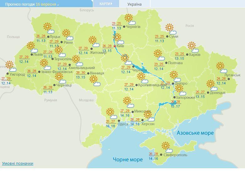 За вікном літо: прогноз погоди на 16 вересня