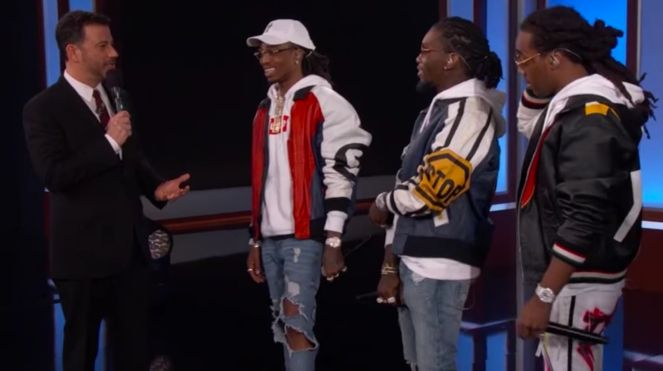 Jimmy Kimmel Congratulates Migos For Having The Strongest Smell Of Weed Ever On His Show!