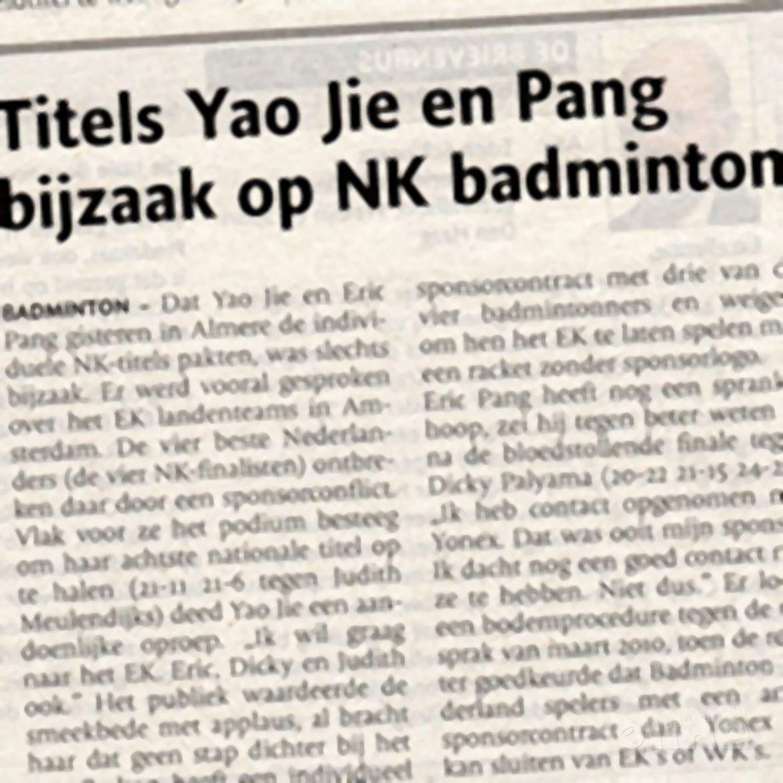 Titels Yao Jie en Pang bijzaak op NK badminton