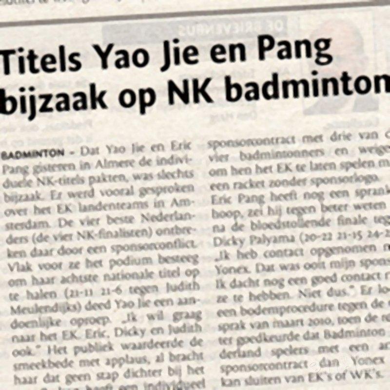 Titels Yao Jie en Pang bijzaak op NK badminton - BN/DeStem