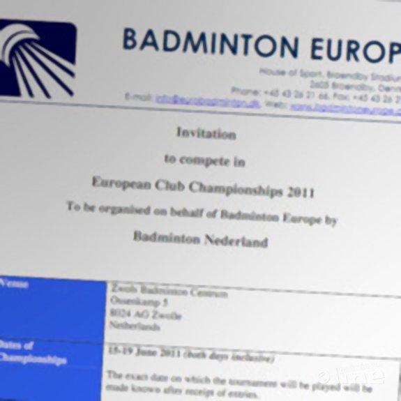 Deze afbeelding hoort bij '2011 European Club Championships to be held in Zwolle' en is gemaakt door Badminton Europe