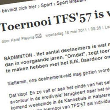 Toernooi TFS'57 is weer sterk bezet