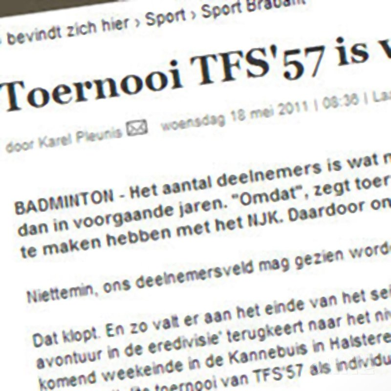 Toernooi TFS'57 is weer sterk bezet - BN/DeStem
