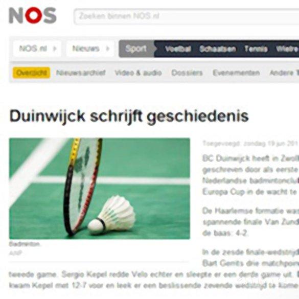 Duinwijck schrijft geschiedenis - NOS
