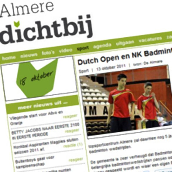 Dutch Open en NK Badminton langer in Almere - Almere Dichtbij