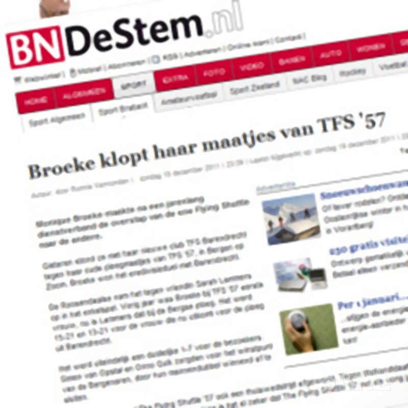 Broeke klopt haar maatjes van TFS'57 - BN/DeStem