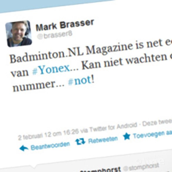 Mark Brasser: 'Mis in Badminton.NL Magazine ook een kritisch interview van Laura Damstra... Jammer!' - Twitter