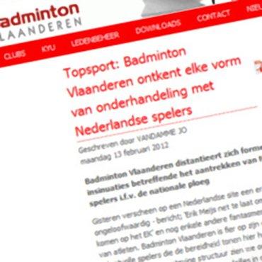 Topsport: Badminton Vlaanderen ontkent elke vorm van onderhandeling met Nederlandse spelers