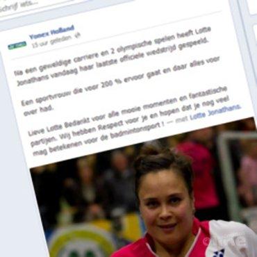 Yonex Nederland beëindigt topsportcarrière van Lotte Jonathans in Facebook-bericht