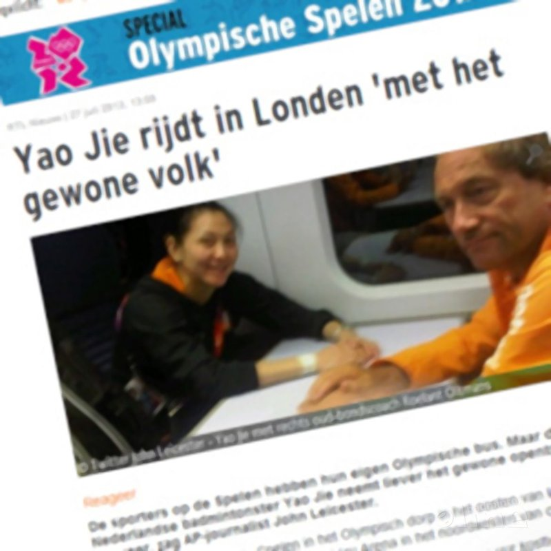 Yao Jie rijdt in Londen 'met het gewone volk' - Twitter / John Leicester