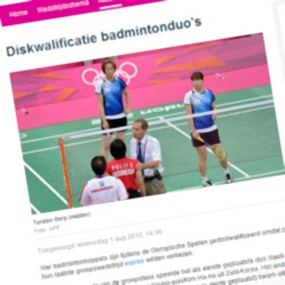 Alsnog diskwalificatie badmintonduo's - NOS & AFP