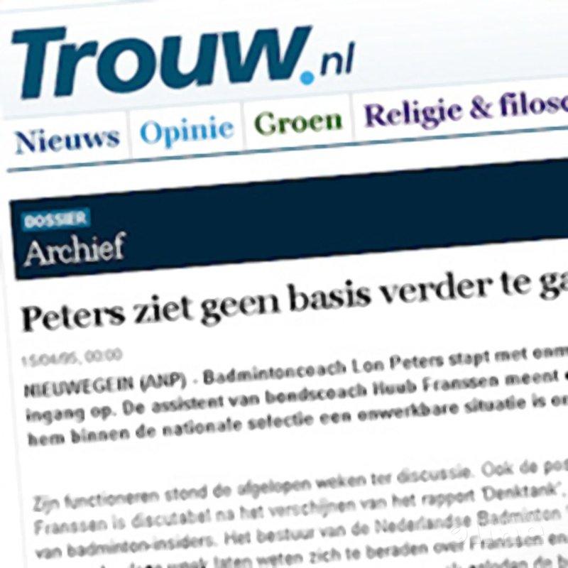 De geschiedenis herhaalt zich: 'Peters ziet geen basis verder te gaan als coach badmintonbond' - Trouw.nl