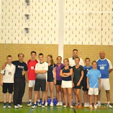 Fabian Pang bij de Badminton School Noord-Limburg