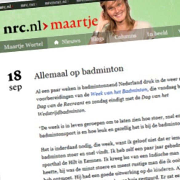 Maartje Wortel: 'Allemaal op badminton' - NRC