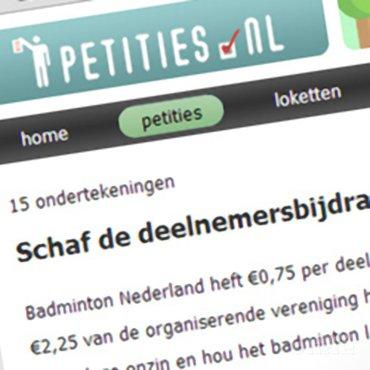 Petitie tegen toernooitaks van Badminton Nederland