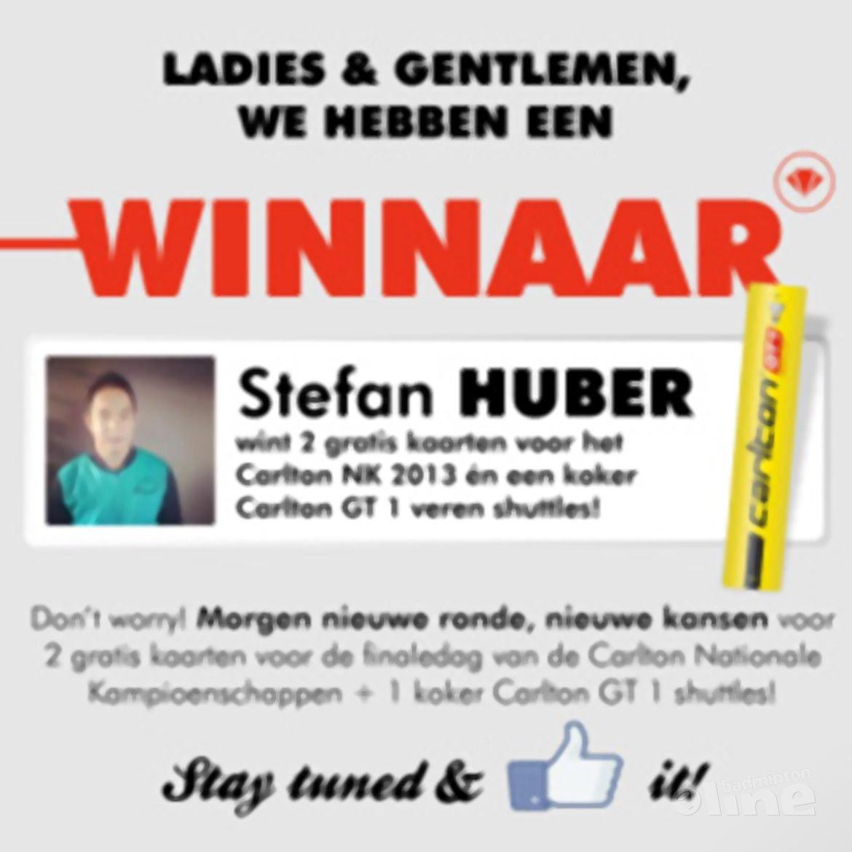 Eerste dagwinnaar Carlton NK 2013-actie bekend: Stefan Huber!
