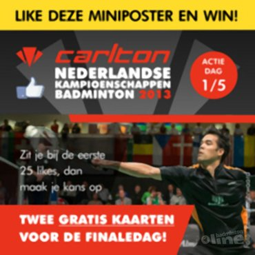 Win elke dag 2 gratis kaarten voor het Carlton NK 2013!