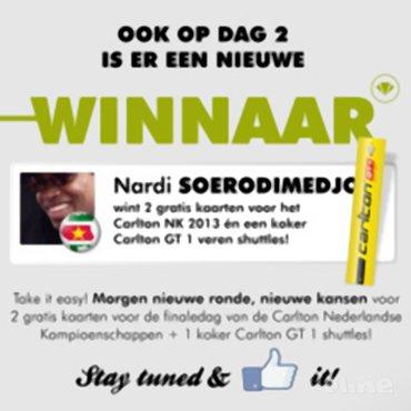 Tweede dagwinnaar Carlton NK 2013-actie bekend: Nardi Soerodimedjo!