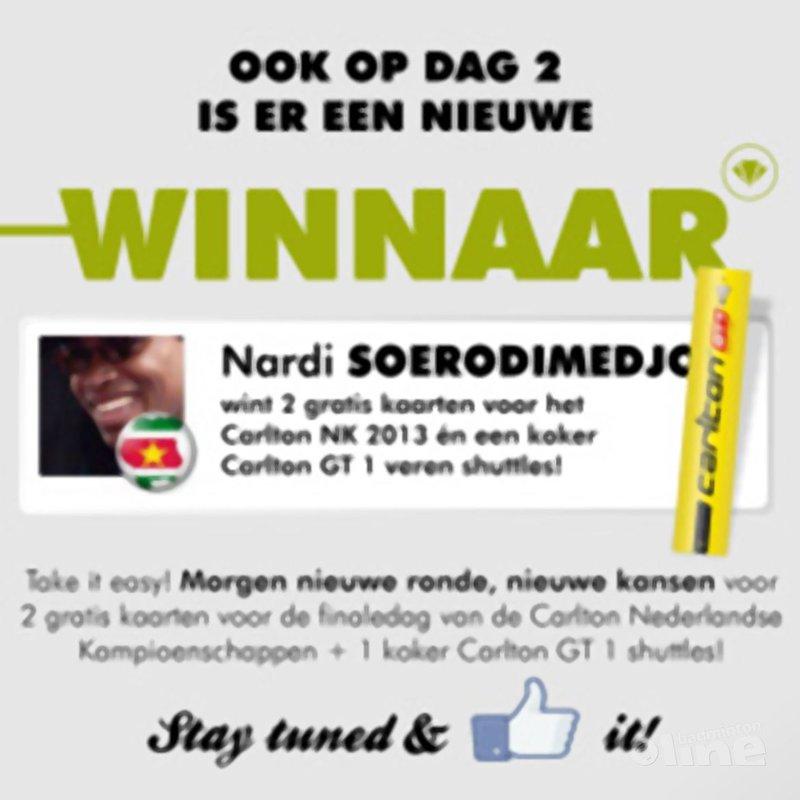 Tweede dagwinnaar Carlton NK 2013-actie bekend: Nardi Soerodimedjo! - Stef Meijs