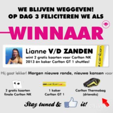 Lianne van der Zanden kroont zich tot derde dagwinnaar van de Carlton NK 2013-actie!