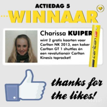 Three in a row: Charissa Kuiper winnares superprijzenpakket Carlton NK 2013-actie!