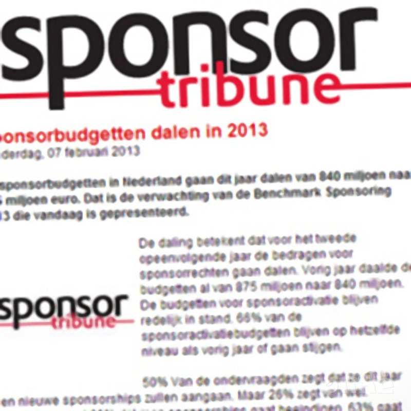Sponsortribune: 'Sponsorbudgetten dalen in 2013' - Sponsortribune