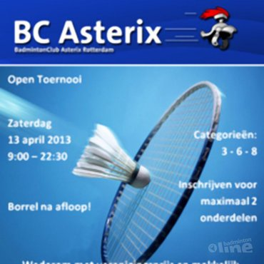 Topbadminton op Open BC Asterix toernooi 13 april 2013