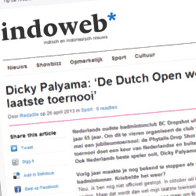 Dicky Palyama: 'De Dutch Open wordt mijn laatste toernooi' - Indoweb
