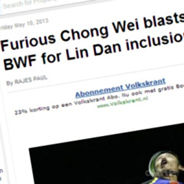 Furious Chong Wei blasts BWF for Lin Dan inclusion