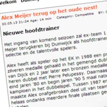 Alex Meijer nieuwe hoofdtrainer Duinwijck