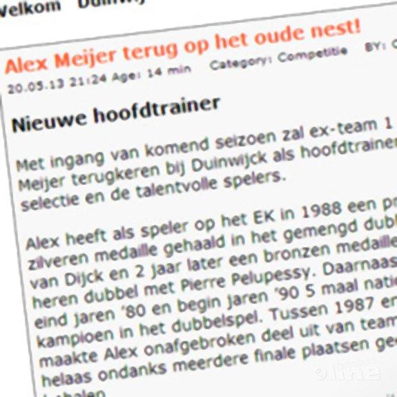 Alex Meijer nieuwe hoofdtrainer Duinwijck - BC Duinwijck