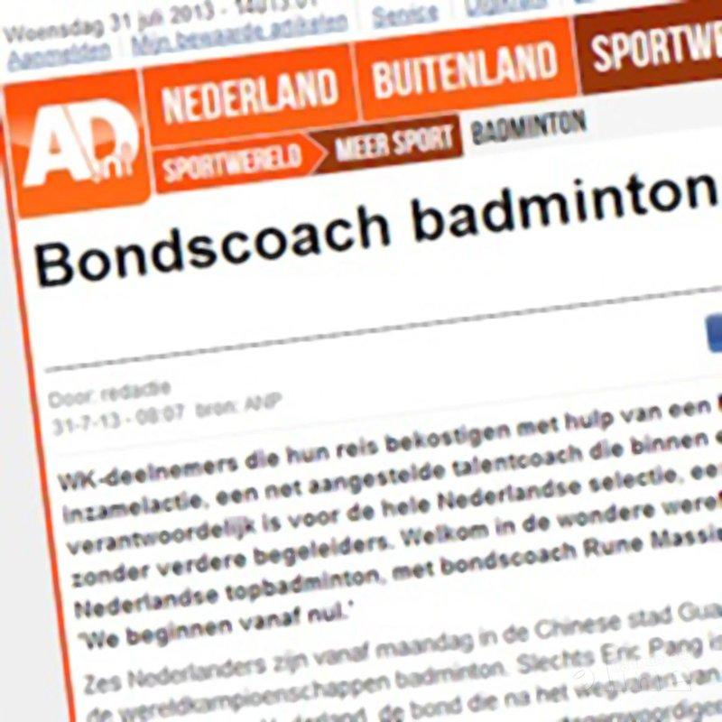AD: 'Bondscoach badmintonners begint vanaf nul' - AD