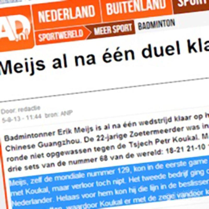 AD: 'Meijs al na één duel klaar op WK badminton' - AD