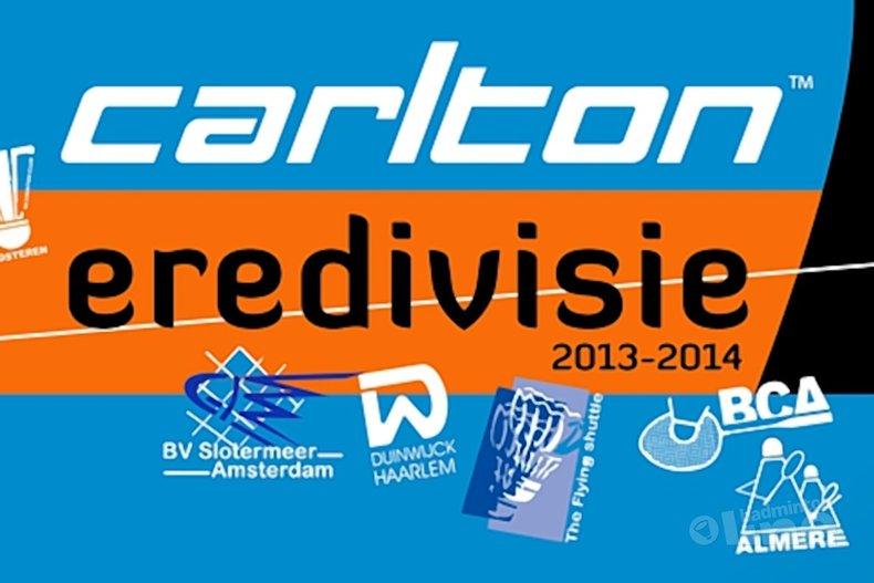 Deze afbeelding hoort bij 'Play-offs Carlton Eredivisie 2013-2014: Amersfoort - Almere' en is gemaakt door Badminton Nederland