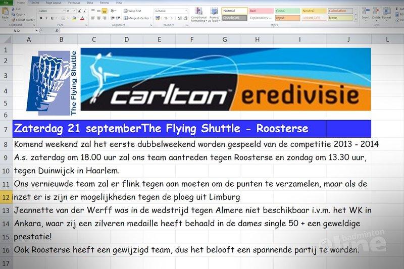 Voor alles een eerste keer: een voorbeschouwing in Excel! - badmintonline