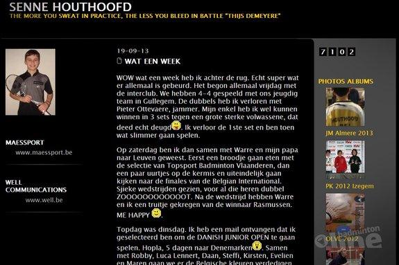 Senne Houthoofd uit Vlaanderen gaat naar de Danish Junior Open - Senne Houthoofd
