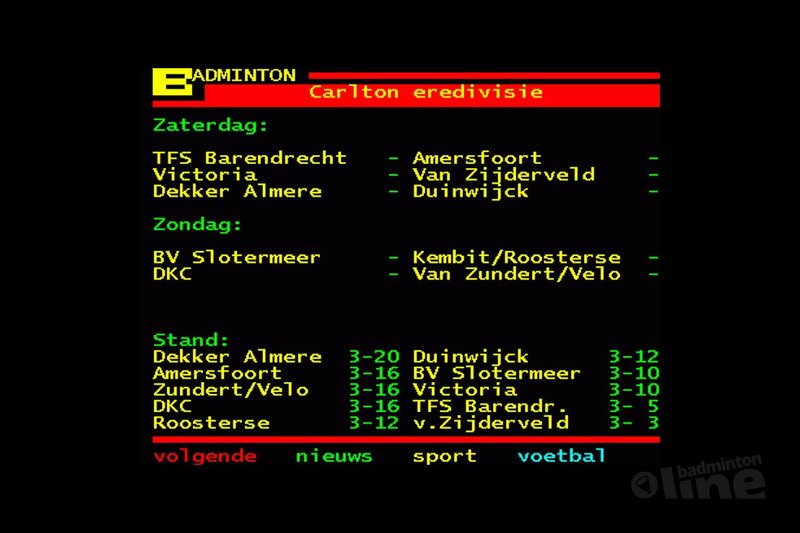 Almere zaterdag tegen Duinwijck - Teletekst