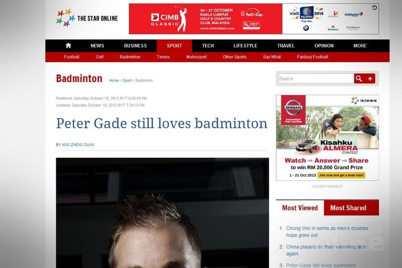 Peter Gade still loves badminton - The Star Online